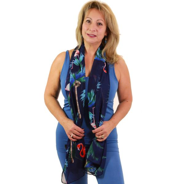 Oblong Scarves - Flamingo Print 9273 Navy -