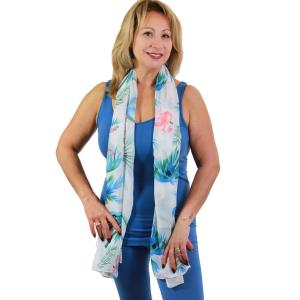 wholesale Oblong Scarves - Flamingo Print 9273 White -