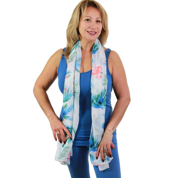 Oblong Scarves - Flamingo Print 9273 White -