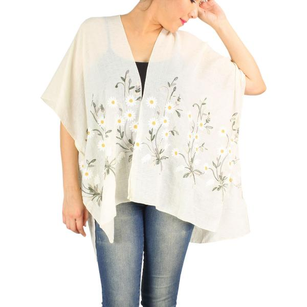 wholesale Kimono - Embroidered 1353, 9328, & 9331 9331 Flower - Ivory* -
