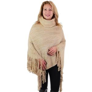 wholesale Poncho - Brushed Knit Turtleneck 9154 Beige Poncho - Brushed Knit Turtleneck 9154 -