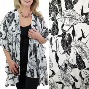 wholesale Ruffled Brushed Satin Kimonos 1262 1263 Leaf Print 1262 - White -