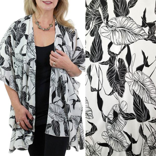 Ruffled Brushed Satin Kimonos 1262 1263 Leaf Print 1262 - White -