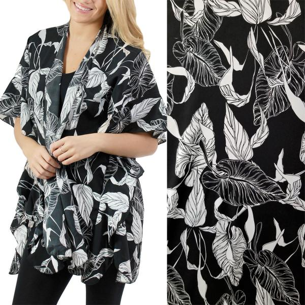 Ruffled Brushed Satin Kimonos 1262 1263 Leaf Print 1262 - Black -