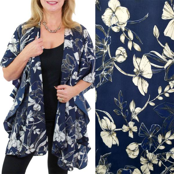 Ruffled Brushed Satin Kimonos 1262 1263 Flower Print 1263 - Navy -