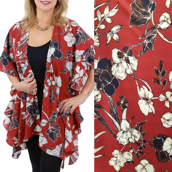 Ruffled Brushed Satin Kimonos 1262 1263 Flower Print 1263 - Burgundy -