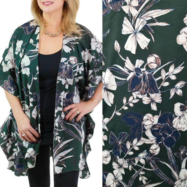 Ruffled Brushed Satin Kimonos 1262 1263 Flower Print 1263 - Hunter Green -