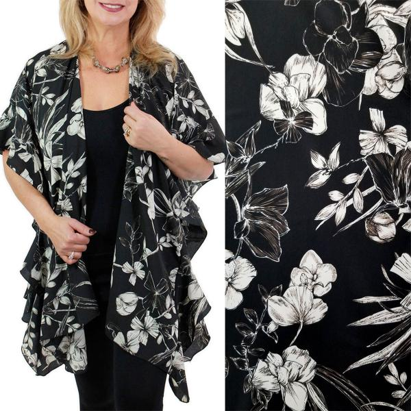 Ruffled Brushed Satin Kimonos 1262 1263 Flower Print 1263 - Black -
