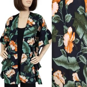 wholesale Ruffled Brushed Satin Kimonos 1262 1263 Tropical Floral 1309 - Navy -