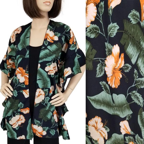 Ruffled Brushed Satin Kimonos 1262 1263 Tropical Floral 1309 - Navy -