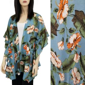 wholesale Ruffled Brushed Satin Kimonos 1262 1263 Tropical Floral 1309 - Dusty Blue -