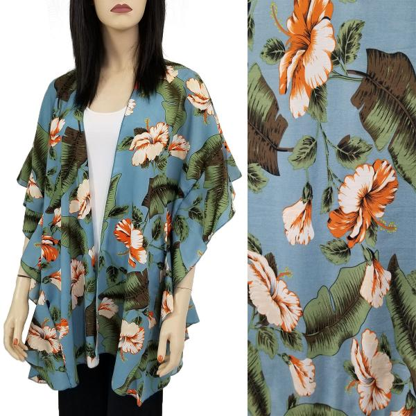 Ruffled Brushed Satin Kimonos 1262 1263 Tropical Floral 1309 - Dusty Blue -
