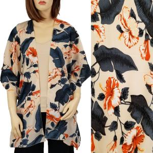 wholesale Ruffled Brushed Satin Kimonos 1262 1263 Tropical Floral 1309 - Beige -