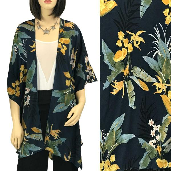 Ruffled Brushed Satin Kimonos 1262 1263 Tropical Leaf 1310 - Indigo -