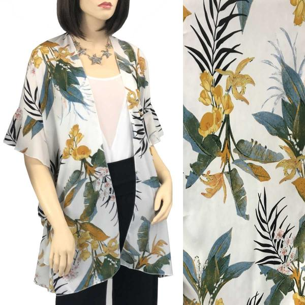Ruffled Brushed Satin Kimonos 1262 1263 Tropical Leaf 1310 - White -