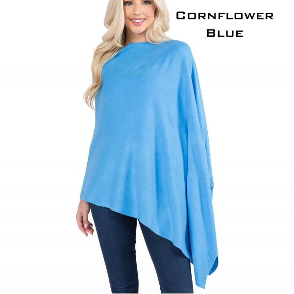 wholesale Poncho - Solid Cashmere Feel 8672 CORNFLOWER BLUE Cashmere Feel Poncho 8672 -