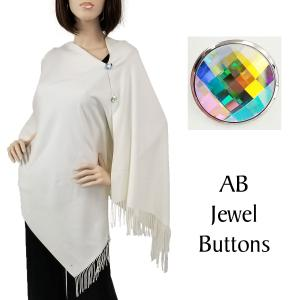 wholesale Cashmere Feel Button Shawls (Jeweled Buttons) #02 Ivory with AB Jewel Buttons -