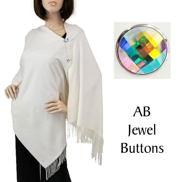 Wholesale Embroidered Cashmere Feel Shawls w/Buttons (BCFEB) #02 Ivory with AB Jewel Buttons -