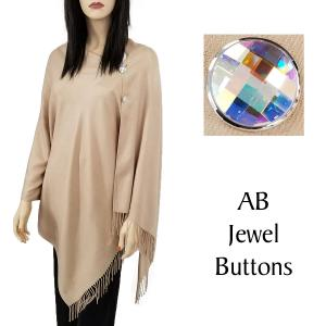 wholesale Cashmere Feel Button Shawls (Jeweled Buttons) #04 Beige with AB Jewel Buttons -