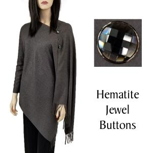 Cashmere Feel Button Shawls (Jeweled Buttons) #05 Charcoal with Hematite Jewel Buttons -