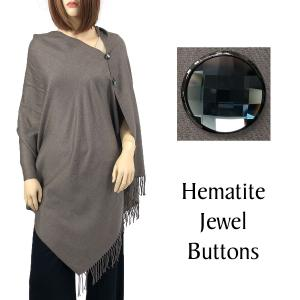 Cashmere Feel Button Shawls (Jeweled Buttons) #06 Graniite with Hematite Jewel Buttons -