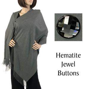 wholesale Cashmere Feel Button Shawls (Jeweled Buttons) #07 Grey with Hematite Jewel Buttons -