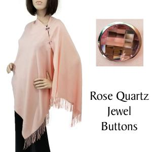 Cashmere Feel Button Shawls (Jeweled Buttons) #08 Peach with Rose Quartz Jewel Buttons -