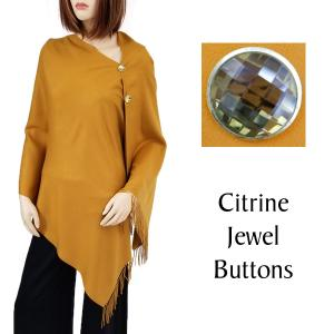 Cashmere Feel Button Shawls (Jeweled Buttons) #12 Mustard with Citrine Jewel Buttons -
