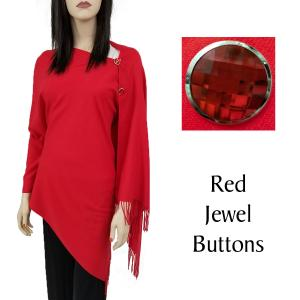 Cashmere Feel Button Shawls (Jeweled Buttons) #13 Red with Red Jewel Buttons -