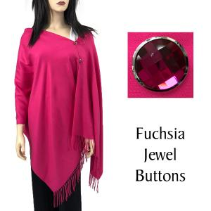 Cashmere Feel Button Shawls (Jeweled Buttons) #14 Fuchsia with Fuchsia Jewel Buttons -