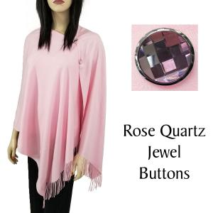 wholesale Cashmere Feel Button Shawls (Jeweled Buttons) #15 Pink with Rose Quartz Jewel Buttons -