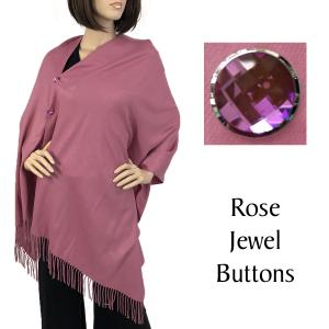 wholesale Cashmere Feel Button Shawls (Jeweled Buttons) #16 Mauve with Rose Jewel Buttons -