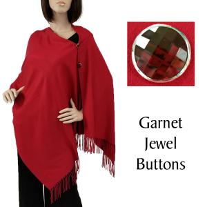 Cashmere Feel Button Shawls (Jeweled Buttons) #17 Burgundy with Garnet Jewel Buttons -