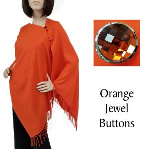 wholesale Cashmere Feel Button Shawls (Jeweled Buttons) #18 Orange with Orange Jewel Buttons -