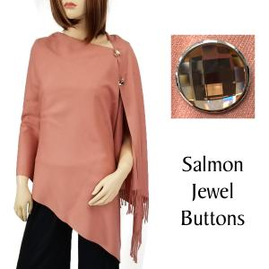 wholesale Cashmere Feel Button Shawls (Jeweled Buttons) #19 Salmon with Salmon Jewel Buttons -