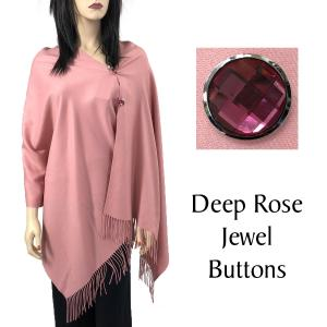 Cashmere Feel Button Shawls (Jeweled Buttons) #20 Dusty Pink with Deep Rose Jewel Buttons -