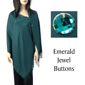wholesale Cashmere Feel Button Shawls (Jeweled Buttons) #22 Hunter Green with Emerald Jewel Buttons -