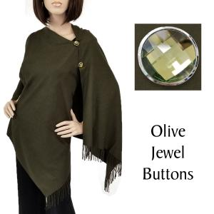 wholesale Cashmere Feel Button Shawls (Jeweled Buttons) #23 Olive with Olive Jewel Buttons -