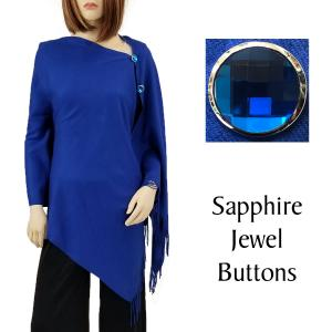 Cashmere Feel Button Shawls (Jeweled Buttons) #26 Royal with Sapphire Jewel Buttons -