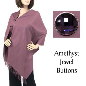 Cashmere Feel Button Shawls (Jeweled Buttons) #27 Dusty Purple with Amethyst Jewel Buttons -