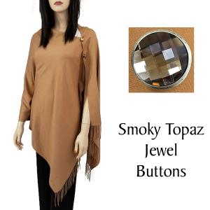 Cashmere Feel Button Shawls (Jeweled Buttons) #28 Camel with Smoky Topaz Jewel Buttons -