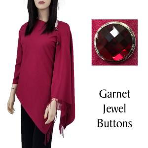 Cashmere Feel Button Shawls (Jeweled Buttons) #29 Wine with Garnet Jewel Buttons -