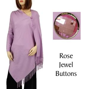 Cashmere Feel Button Shawls (Jeweled Buttons) #30 Lilac with Rose Jewel Buttons -