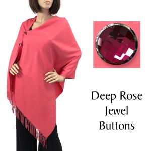 wholesale Cashmere Feel Button Shawls (Jeweled Buttons) #31 Coral with Deep Rose Jewel Buttons -