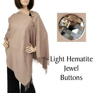 Cashmere Feel Button Shawls (Jeweled Buttons) #32 Tan with Light Hematite Jewel Buttons -