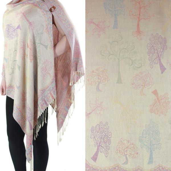 wholesale Pashmina Style Shawls with Buttons Trees #02 -