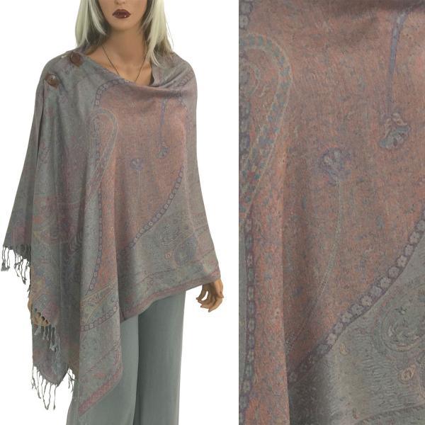 wholesale Pashmina Style Shawls with Buttons Large Paisley #05 -
