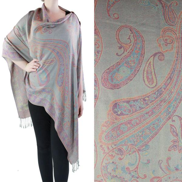wholesale Pashmina Style Shawls with Buttons Paisley #06 -