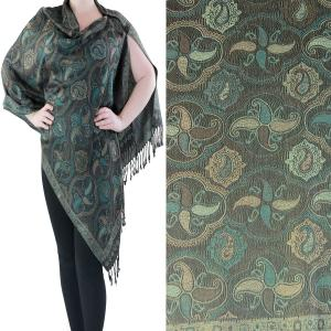 Pashmina Style Shawls with Buttons Paisley Medallion #12 -