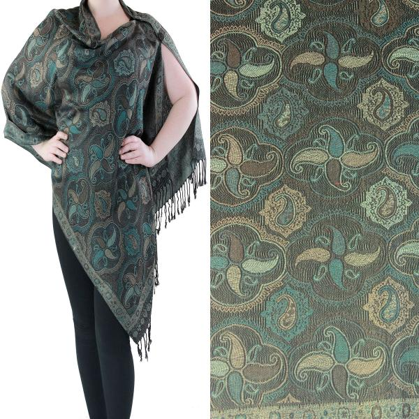 wholesale Pashmina Style Shawls with Buttons Paisley Medallion #12 -